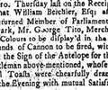 William Belchier Returned MP for Southwark, 1747