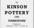 Advert for Kinson Pottery Ltd.