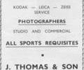 Advert for J.Thomas & Son Photogaphy.